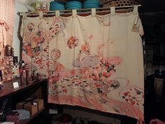 Beautiful curtain made out of silk kimono. Found at Kenta's Things Japanese in Claremont, CA.
