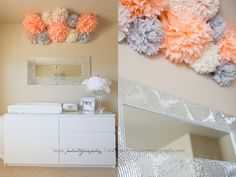 Pom poms, perfect colors. Love the silver mirror too.