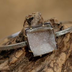Square cut druzy bangle bracelet with solid silver band