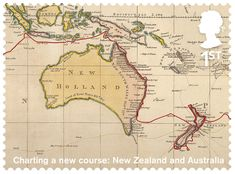 Great Britain 2018 - Captain Cook and Endeavour - Charting a news Course: New Zealand and Australia New Zealand Art, Vintage Maps, Penny Black, Stamp Collecting, Mail Art, British Isles, Countries Of The World, What Is Like, Great Britain
