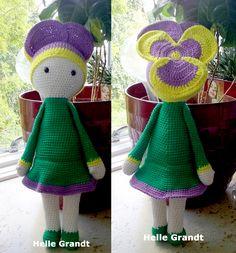 Viol Vicky dukke lavet af Helle Grandt - hækleopskrift ved Zabbez