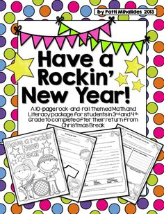 A 10-page rock-and-roll themed Math and Literacy package for students in 3rd and 4th Grade to complete after their return from Christmas Break. Perfect for ELL students in 3-5 as well.