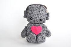 Amigurumi Robot Crocheted in Grey with Red Heart