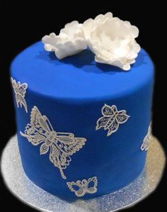 Blue Butterflies Themed Cake - by Nada's Cakes Canberra