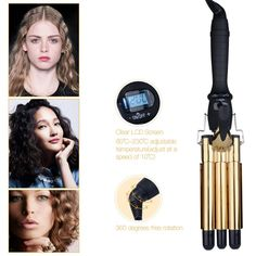 Professional Hair Waver Wave Curler Ceramic Hair Curling Iron 3 Barrel Clamp Curls Roller LCD Display Crimper Tongs Curling Wand Curling Iron Hairstyles, Curled Hairstyles, Baguette, Hair Waver, Golden Hair, Wand Curls, Professional Hairstyles, Curlers, Styling Tools