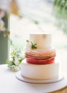 Ivory Wedding Cake With Deep Coral To Ivory Ombre Ruffles****