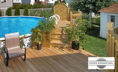 Patio avec piscine hors-terre par Patio Design inc. Pool Deck Plans, Patio Plans, Backyard Plan, Above Ground Pool Decks, In Ground Pools, Backyard Paradise, Reno, Pool Designs, Patio Design
