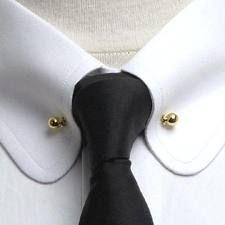 White Shirt. Collar pin. Collar