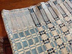 Antique Coverlet 42x86 Black Blue and Cream Design Very Good Cond | eBay