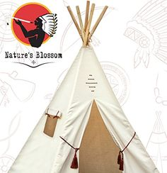 Children Tipi Play Tent with Carrying Case Indian Teepee For Indoors  Outdoors Durable Cotton Canvas Construction Stylish Kids Room Decor Idea By Natures Blossom ** Visit the image link more details.