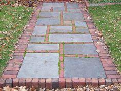 Belægning, belægningstegl, tegl, kliker, terrasse, Ziegel, bricks. brick and bluestone walk
