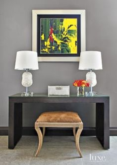 An open plan Chicago abode's #accent #console.