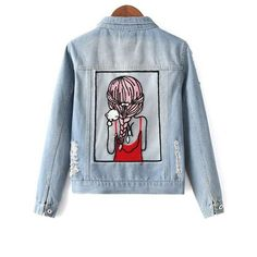 Embellished Shirt Collar Distressed Denim Jacket ($20) ❤ liked on Polyvore featuring outerwear, jackets, embellished jacket, distressed denim jacket, blue jackets and collar jacket