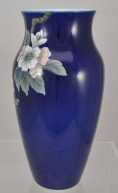 Royal Copenhagen Large 12 Inch Porcelain Hand Painted Dogwood Vase | eBay