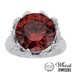 Round Color Stone Ring with Diamond Encrusted Prongs available at Wheat Jewelers