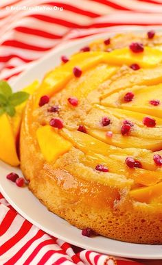 Mango upside down cake --Moist and tasty cake! It's sunshine in a plate.