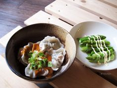20140304_椒麻醬韭菜豬肉餃子+清燙蘆筍