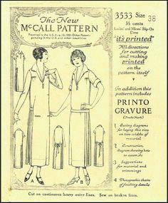 1920s Dress Sewing Pattern - McCall 3533