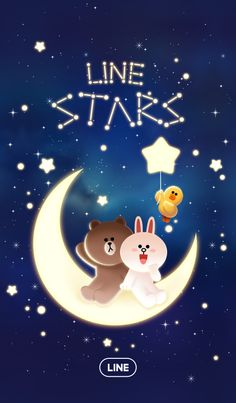 LINE Themes,LINE Stars,LINE,The LINE friends take to the skies in this starry theme! Turn your LINE into your own personal romantic night sky. Lines Wallpaper, Brown Wallpaper, Bear Wallpaper, Kawaii Wallpaper, Line Cony, Cute Bear Drawings, New Toy Story, Bunny And Bear, Cute Love Gif
