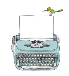 blue Mint vintage typewriter portable retro with paper and green bird hand drawn vector art illustration vector art illustration Art And Illustration, Camera Illustration, Doodle Frames, Posca Art, Photo Collage Template, Motivational Quotes For Women, Instagram Frame, Poster S, Vintage Typewriters