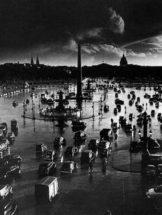 williemckay:  Storm over the Place de la Concorde, Paris, 1951.