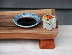 Rustic Wood Sushi Tray Sandwich Board Lunch Plate Footed Cutting Board Salvaged Maple