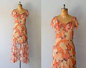 vintage 20s dress / chiffon 1920s dress / Broken Blossoms dress