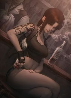 Anime picture black lagoon madhouse revy (black lagoon) peachpa long hair tall image looking at viewer highres fringe breasts brown hair bare shoulders brown eyes sitting holding cleavage ponytail absurdres payot indoors 608944 en Revy Black Lagoon, Black Lagoon Anime, Female Characters, Anime Characters, Manga, School Of The Dead, High School, Fanart, Evil Anime