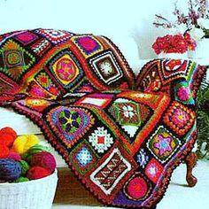 💮 Afegão em Crochê com Flores Quadrados -  /  💮  Afghan Crocheting with Flowers Square -