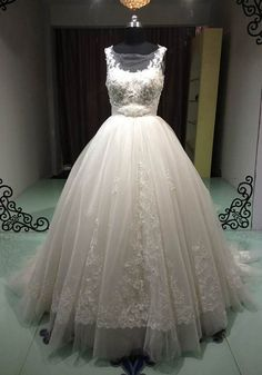 Ball Gown Bateau Ivory Lace applique Wedding by RockRollRefresh, $300.00