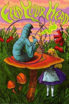 Feed Your Head with the Hookah-Smoking Caterpillar and Alice in Wonderland! An amazing poster of art by John Tenniel. Fully licensed - 2009. Ships fast. 24x36 i