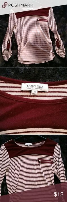 Blouse/shirt Maroon and cream colored quarter sleeve blouse shirt. Fake chest zipper pocket. Gently used condition. Size medium.  Bundle two or more items and Save Active usa Tops Blouses