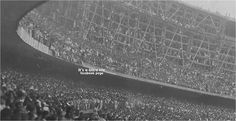 Massive crowd for the opening game in an unfinished Maracana Stadium 1950.