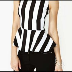 Peplum black and white striped top ⭐ black and white peplum shirt :) says medium but fits mostly a small necessary Tops