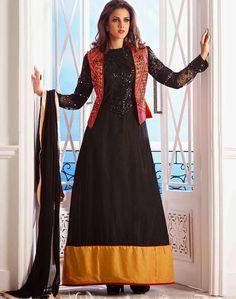 Shop for Indian salwar kameez & designer salwar suits on Satrani. Browse the latest salwar kameez collection online. Robe Anarkali, Costumes Anarkali, Indian Anarkali, Stylish Suit, Stylish Jackets, Churidar Suits, Anarkali Suits, Latest Salwar Suits, Designer Salwar Suits