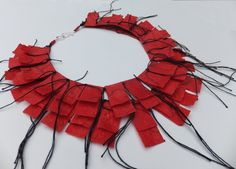 Joomchi, felted mulberry paper stacked necklace