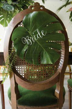 Palm Frond Chair Decor, Tropical Wedding Chair Decor | Tropical Wedding with Pineapples & Palms | ElegantWedding.ca
