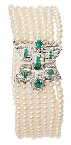 Art Deco style pearl, emerald, and diamond bracelet