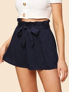 Casual Plain Loose Elastic Waist Mid Waist Navy Self Belted Solid Shorts with Belt Shorts Outfits Women, Summer Outfits Women, Short Outfits, Cute Outfits, Short Skirts, Short Dresses, Short Women Fashion, Pants For Women, Clothes For Women