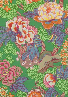 Honshu - Green fabric, from the Dynasty collection by Thibaut Floral Curtains, Floral Pillows, Large Floral Wallpaper, French Wallpaper, Floral Print Design, Floral Prints, Green Fabric, Decorative Pillow Covers, Stencil