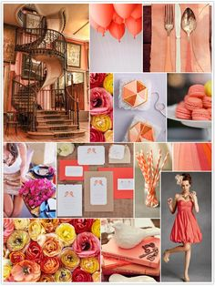 Summer, coral, gold, pink, dusty coral, flowers, party dress, macaroons, staircase, balloons, flatware, Coral Wedding Bridesmaid Dress