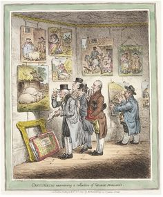 Satirical print, 'Connoisseurs Examining a Collection of George Morland's' by James Gillray, London, Museum Number James Gillray, History Cartoon, New York Public Library, Satire, Caricature, 18th Century, Vintage World Maps, Illustration, Painting