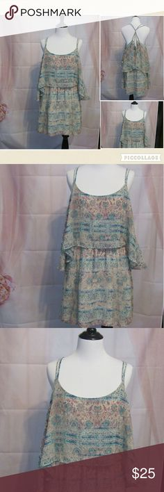 "Ecote Blue Purple Spaghetti Strap Dress L Fun and flirty dress. Pattern reminds me of abstract floral. Blue and light purple.   All clothes are in excellent used condition. No stains or holes.  Content: 100% polyester  Bust: 40"" Length: 27""  Posh11 Urban Outfitters Dresses Mini"
