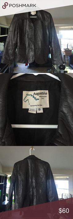 Augustine Wearable Art  black leather jacket Beautiful black leather jacket by Augustine wearable art. Excellent condition Augustine Wearable Art Jackets & Coats Blazers