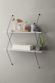 Shaea 2 Shelf Shelving System with Wire Bracket