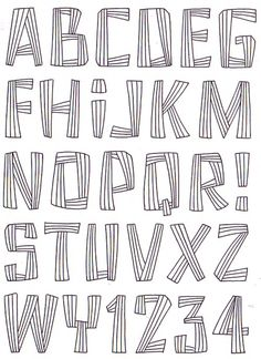 This isnt type of font id use because i dont feel like it presents the genre i am focusing on. Hand Lettering Alphabet, Doodle Lettering, Creative Lettering, Lettering Styles, Calligraphy Letters, Typography Letters, Alphabet Letters, Preschool Alphabet, Letter Tracing