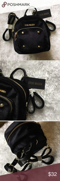 """NWT Steve Madden mini black velvet backpack They are super cute! I have two of them in black and one in Teal, all """"Bloey's mini backpack"""" by Steve Madden. I have two sisters so my aunt got us three theses as a back to school gift but they are more of an accessory style. ALL are new with tags and never used! The teal one has the exact same style and tags! There is only one of them (black) backpack that has the straps still wrapped in its original wrap so the first purchase of one of the black…"""