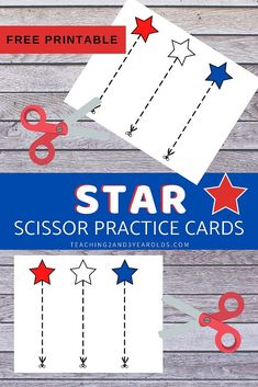 It's easy to strengthen cutting skills with these star scissor practice printable cards! Simply download the free printable for a nice and calm fine motor activity. #finemotor #cutting #scissors #skills #printable #preschool #4thofjuly #independenceday #stars #3yearolds #teaching2and3yearolds Scissor Practice, Cutting Practice, Scissor Skills, Kids Educational Crafts, Science Crafts, Educational Websites, Calming Activities, Motor Activities, Printable Cards