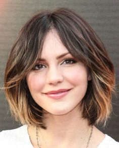 rounded bob haircut with ombre coloring & long bangs #haircut #hairdo #haircolor; tempting!!!!!!