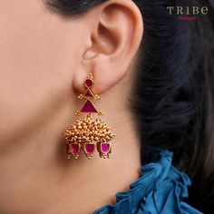 Our Navrang collection features playful, geometric designs decorated with bright, vibrant colours. The perfect way to ex - Trend 2020 Gold Jhumka Earrings, Jewelry Design Earrings, Gold Earrings Designs, Gold Jewellery Design, Antique Earrings, Bead Jewellery, Jewelry Rings, Gold Jewelry Simple, Silver Jewelry